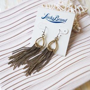 Lucky Brand Droplet Hoop Tassel Chain Earrings